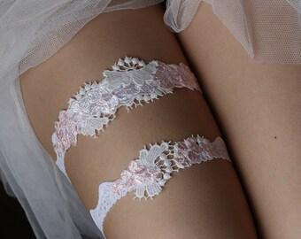 Wedding Bridal garter set, white and pink lace garter--size M