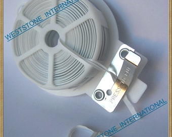 65FT Plastic Twist Tie Spool with Cutter - White Flat