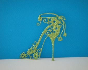 Cut green shoe glitter heel with small flowers