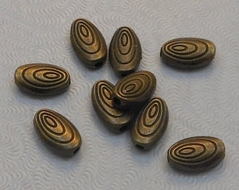 Antique Brass Oval Spacer Beads 10x6mm (10pcs) Z-N1294-AB