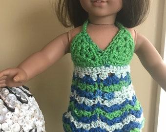 "Bohemian 18"" Doll Dress - Summer Halter Dress - Handmade Crochet Clothes for American Girl Doll - D3"