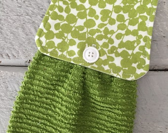 Hanging Kitchen Towel- Spring Leaves Green Terry Cloth Towel Button Closure