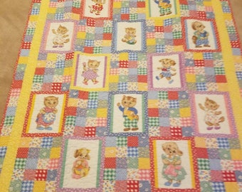 Puppy & Kitty Baby Quilt 47X54