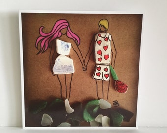 Unique Cornish Seaglass & Seapottery Couple on square blank greetings card surfart surfing surfer surf girl valentines anniversary