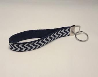 Keychain / Wristlet / Key Fob / Navy Blue Webbing, Navy Blue Ribbon with White Chevron