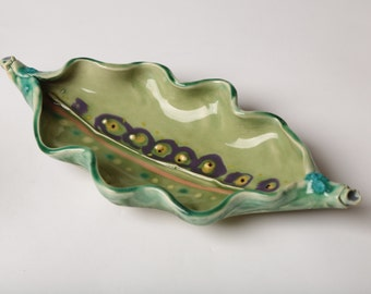 Hand Made Ceramic 'Pea Pod' type dish