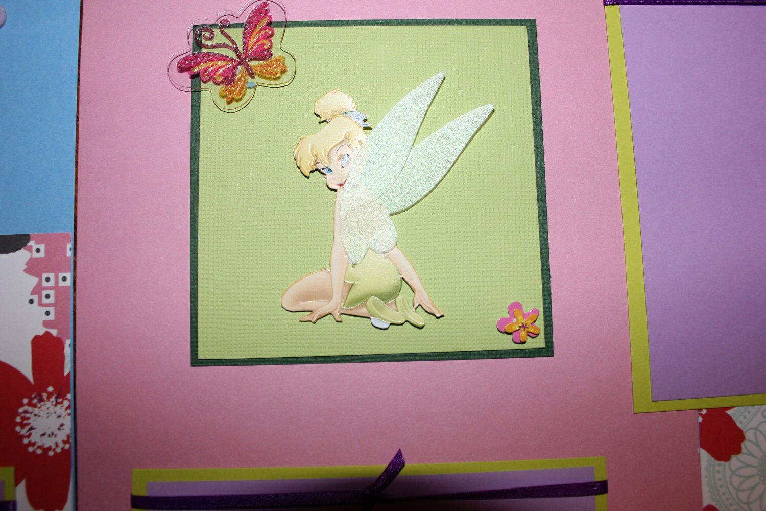 12 x 12 Disney tinkerbell premade scrapbook layout titled,double ...