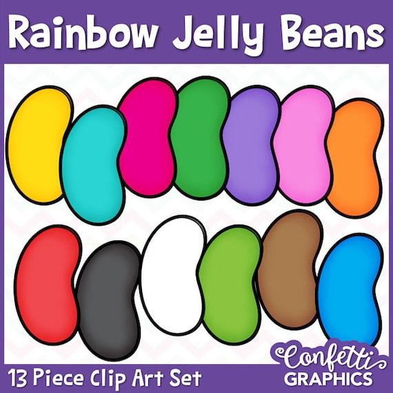 rainbow jelly bean clip art set 13 piece easter counting math rh etsystudio com