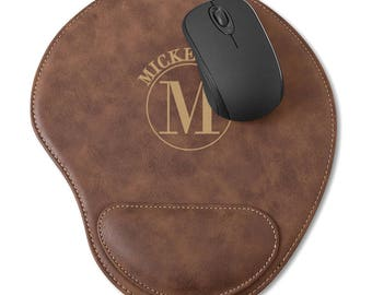 Personalized Mouse Pad with Wrist Rest, Monogrammed Faux Leather Brown Mouse Pad, Vegan Leather Mouse Mat with Ergonomic Wrist Rest Support