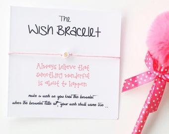 Kids Initial Wish Bracelet, Wish Bracelets, Girls Wish Bracelet, Children's Gift, Initial, Kids Gift, String Bracelet, Positivity Bracelet,