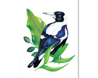 Magpie with Botanicals -Print
