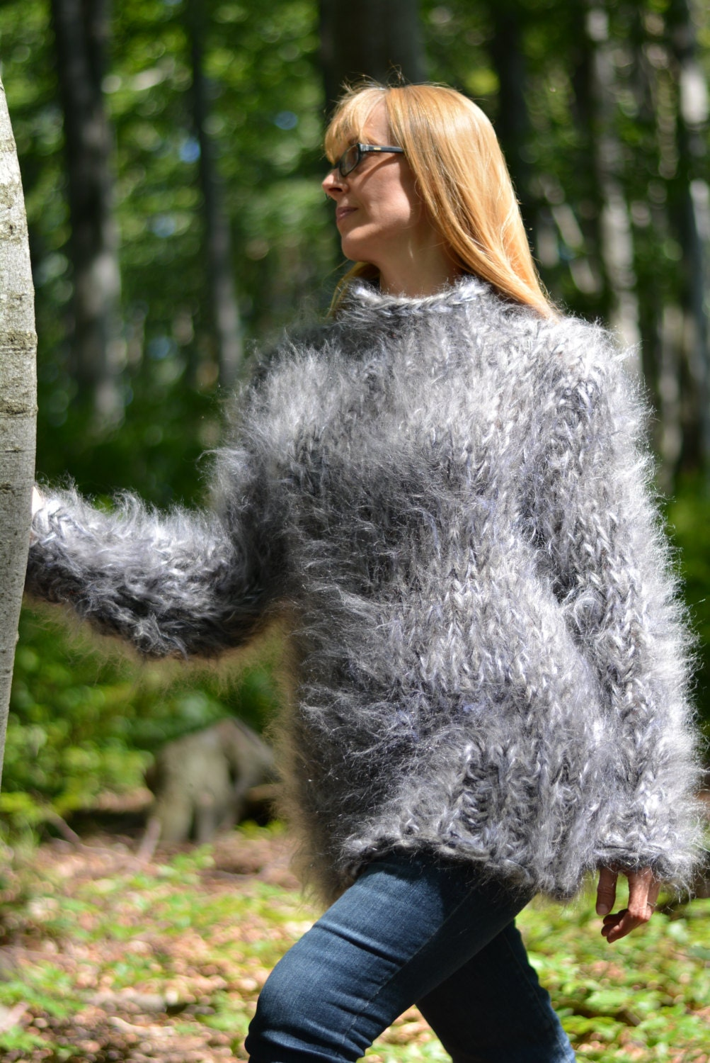 Order Hand Knitted Mohair Sweater Knitted Mohair Crewneck