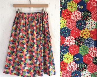 70's Patchwork Print Wrap Skirt Vintage
