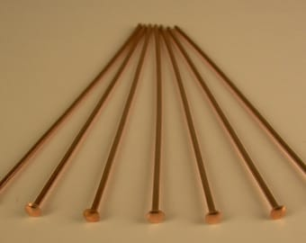 "Solid Copper Head Pins 22Ga Wire  1.5"" 100 pcs. Genuine Solid Copper ( MADE IN USA)"