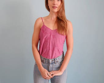 Pretty Pink 90s Camisole/Thin Strap Top/Tank Top
