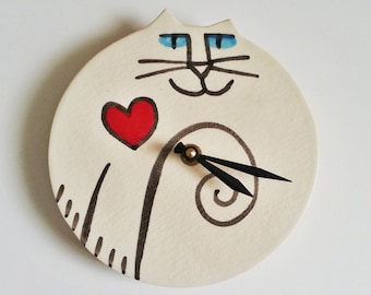 Valentine Gift Cat pottery wall clock:  handmade red heart white black whimsical crazy cat lady wall hanging feline pet resort designer