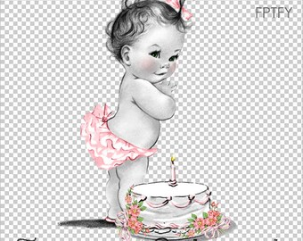 Vintage One Year Old Baby Birthday Girl LARGE Digital Image Download Sheet Transfer To Totes