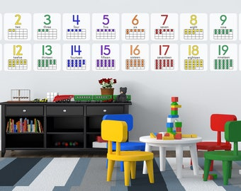 Ten-Frame Numbers 1-20 Educational Wall Decals  **2 sizes!** (Montessori & S.T.E.M.)