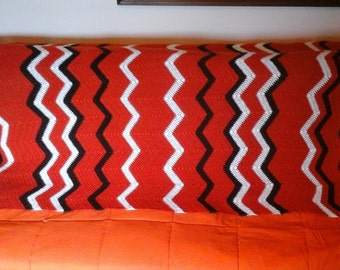Burnt Orange, Brown, White Afghan, 70s Chevron Afghan in Vibrant Orange, Brown and White