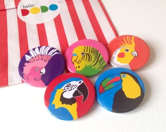Tropical Bird Badges, colourful bird button badge pack, pinback brooch, parrot badge, budgie badge, toucan badge, christmas stocking fillers