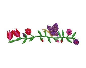 ID 6946 Flowers On Vine Patch Garden Nature Strip Embroidered Iron On Applique