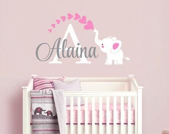 Elephant Custom Name Personalized Initial Wall Decal Sticker for Nursery, Girl's Room or Playroom, Nursery Monogram