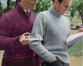 mens ribbed sweater with shawl collar polo neck sweater vintage 1950s knitting pattern 36-40 inch DK mens knitting patterns PDF Download