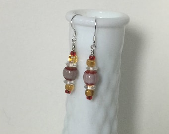 Artistic milifiore and glass beaded drop earrings, sterling silver