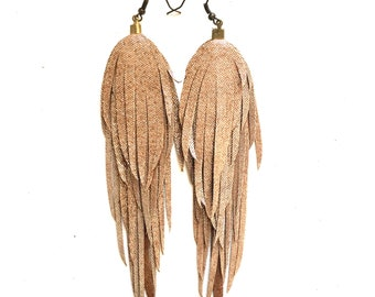 Long golden feather fringe handmade earrings.Boho earrings.Bohemian Earrings.Boho gift.leather feather earrings. Boho fashion.Gold leather.