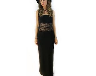 vintage 90s mesh lace cutout waist black maxi dress // size small
