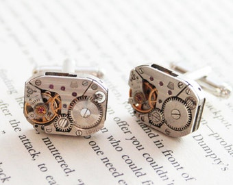 Steampunk Cuff Links Geeky cufflinks Novelty cufflinks groomsmen cufflinks watch movements groomsmen gift steampunk jewelry