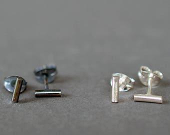 Tiny Bar Studs- line bar studs, silver bar earrings, minimal bar earrings, second hole earrings, silver bar studs, dainty studs