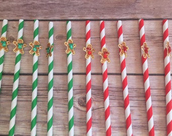 Gingerbread straws, Christmas straws, Christmas party supplies,  Holiday party straws, Gingerbread decor, Christmas decor