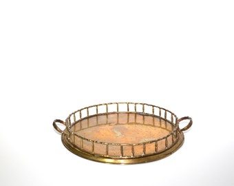 Brass Faux Bamboo Tray Vintage Brass Tray Round Tray Serving Tray Bar Tray Vanity Tray