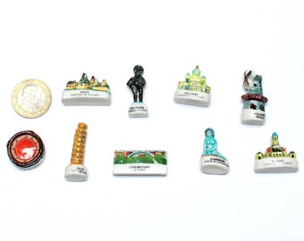 9 European Monuments porcelain miniatures, miniatures for cake - gift for collector or traveler - Epiphany, slab