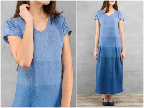 Nautical 100 Linen Marine Style Dress Sea Clothing Dress Long Fashion Maxi Summer Linen Blue Linen Women vqatISwF