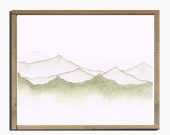 Simple Watercolor Mountainscape  Art Print
