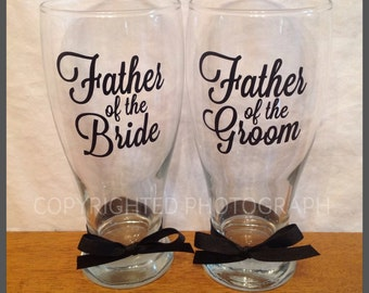 Personalized FATHER of the BRIDE or GROOM Pilsner Glass for Groom Groomsman Usher Wedding Party