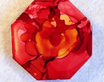 Red and Yellow Octagon Alcohol Ink Abstract Magnet