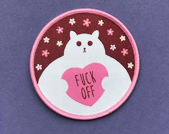 Funny Cat Patch - Iron on Cat Patch - Sew on Patch - Embroidered Patch - Woven Cloth Patch - Fat Kitty - Rude Cat - Large Cat Patch