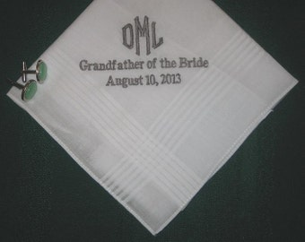 Personalized Wedding Handkerchief for Any Men in your Family or Wedding Party 150B