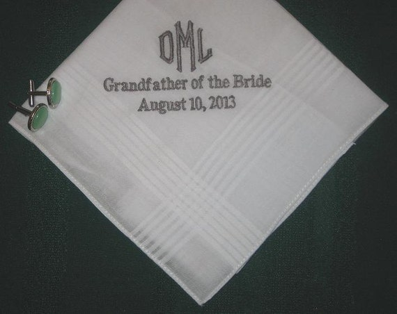 Wedding Handkerchiefs For The Family: Personalized Wedding Handkerchief For Any Men In Your Family