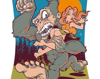 Bigfoot Blind Date - Screen Print by Steve Chanks