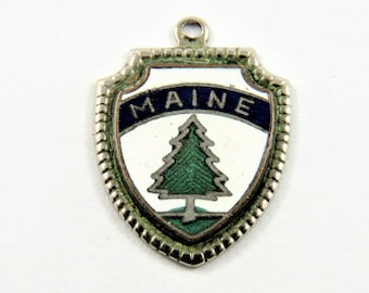 Enameled Maine Travel Shield Sterling Silver Charm of Pendant.