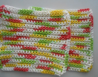 Crochet Cotton Dish Clothes Set of Two Pink Lemonade