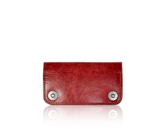iPhone 6, iPhone 7 RETROMODERN aged leather wallet - - RED
