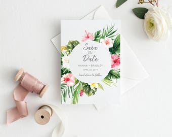 Printable Save the Date Card, Tropical Wedding Announcement, Save the Date, Invitation Template, Wedding Card, Destination Wedding  #R099