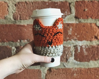 Fox Cup Cozy PATTERN // PDF Download // Crochet Pattern // kneedlesandlove