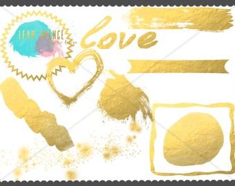 Gilded Digital Clip Art, Wedding, INSTANT download, Hand Drawn Illustrations, PNG,heart, banner, frame, gold, Digital Drawing, scrapbook