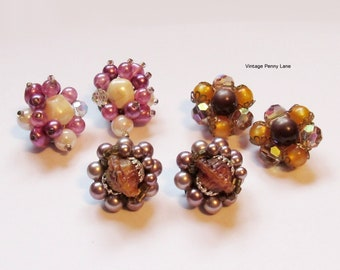 Vintage Cluster Bead Earrings, Clip On Earrings, Vintage Earrings Lot